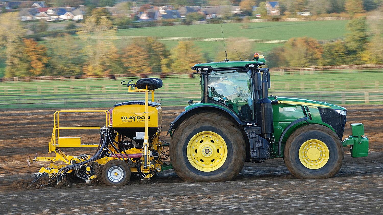 The new Claydon Hybrid M4RF rigid 4m seed and fertiliser drill