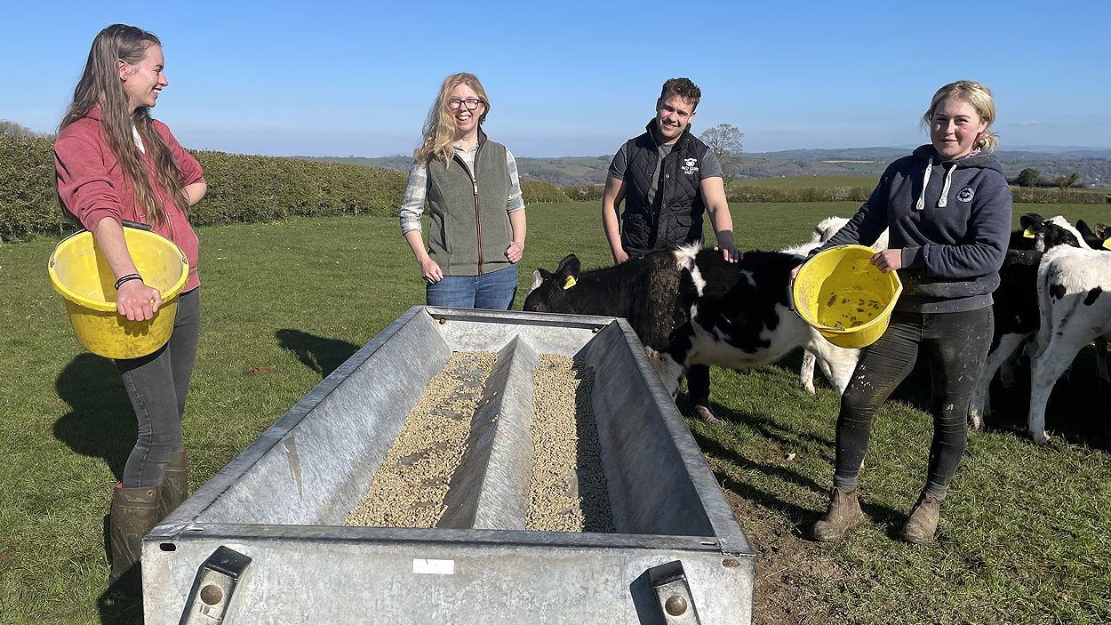 Fieldmouse co-founder Sarah Morris (second from left) with dairy farmers Ali, Glenn and Jess of Daiy Bank Dairy