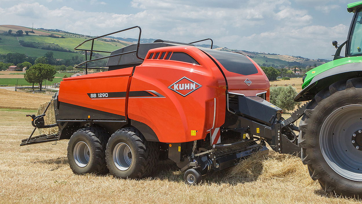 Kuhn's SB large square balers have been developed to enable more even crop flow at the intake and greater consistency in bale density