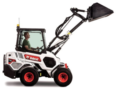 Bobcat's L28 has a telescoping lift arm that extends the lifting height and reach
