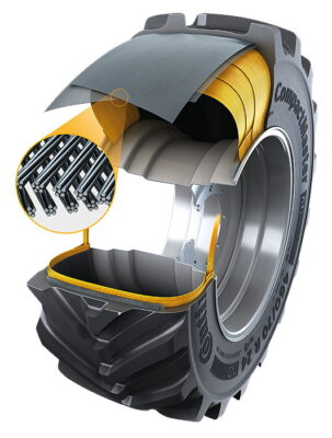 The new CompactMaster AG tyre benefits from Turtle Shield, a new tread layer and a steel belt construction that offers greater durability and stability for materials handling work