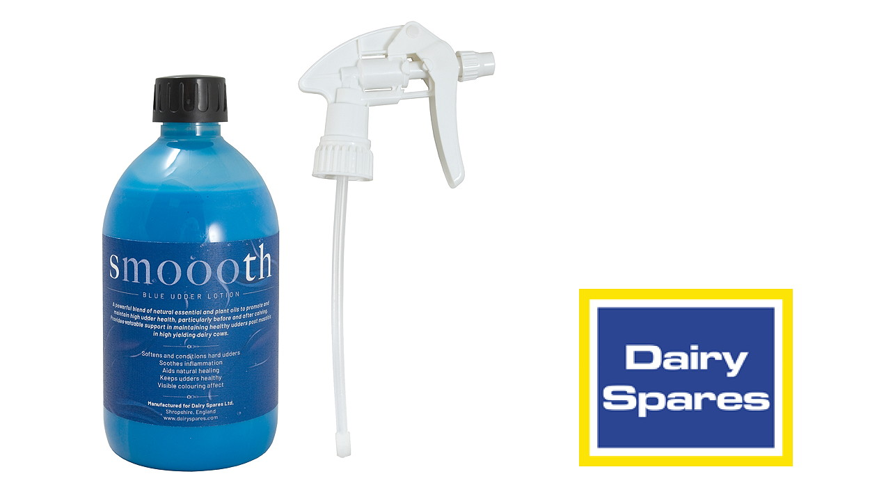 Smoooth blue udder lotion is available in spray form, allowing quick and easy application