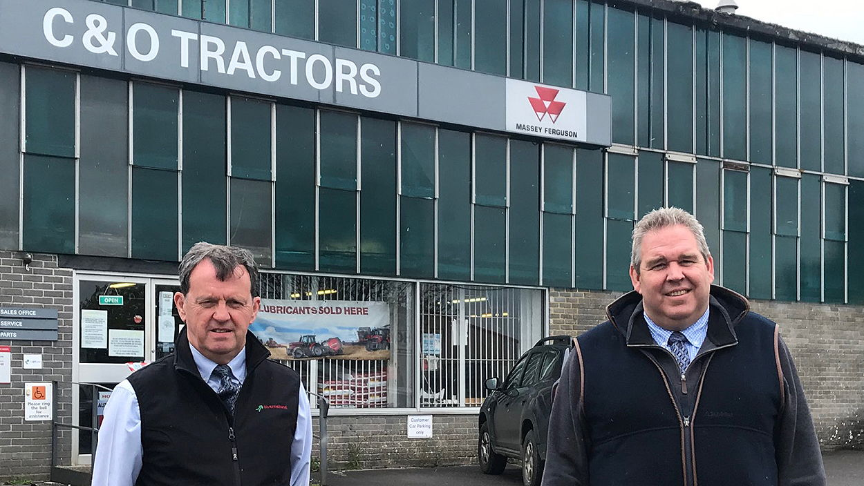 Kverneland's Joe Bell with Andy Coles of C&O Tractors