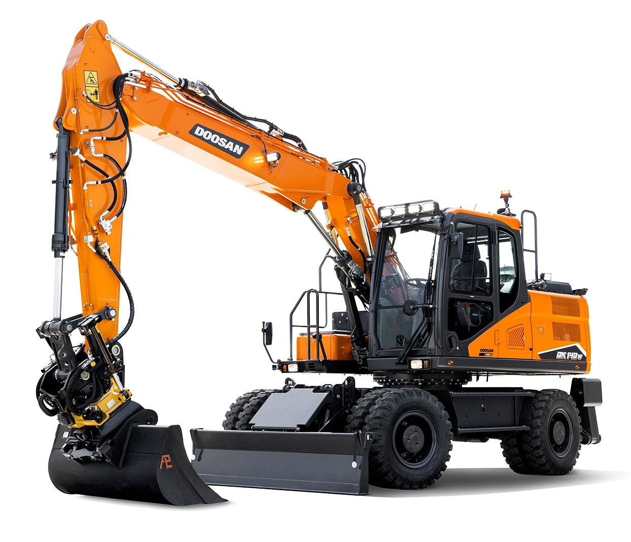 Both new wheeled excavators feature a Stage V, six-cylinder Doosan diesel engine offering 137hp at 2,000rpm