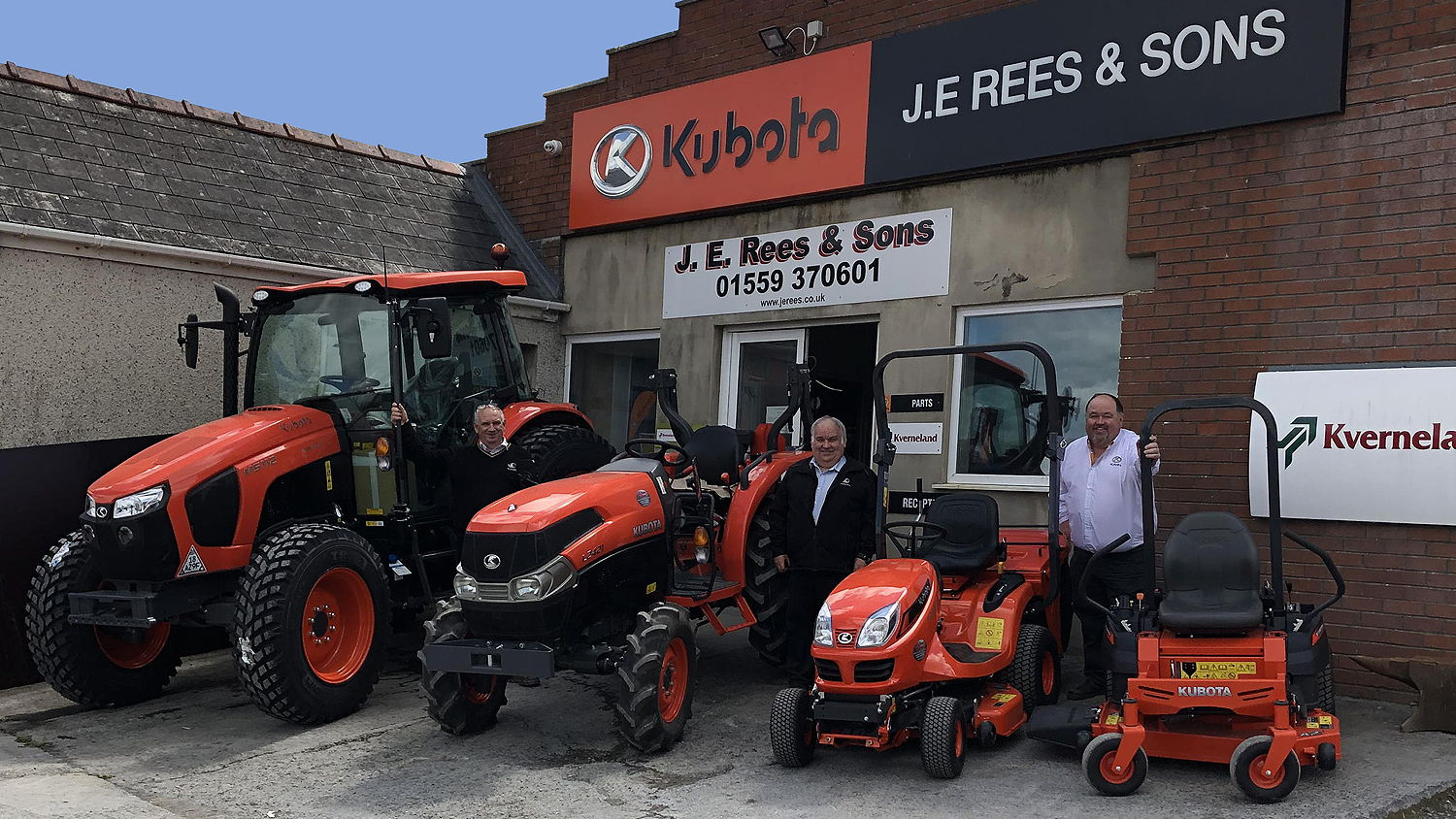 Pictured (from left) with examples from their expanded Kubota product range are  Dylan, Mansel and Marc Rees