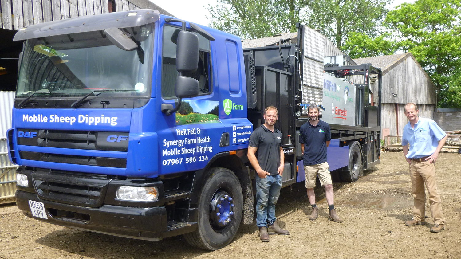 Pictured with the new mobile sheep dipping lorry are (from left): Neil Fell, and Andrew Cooke and Jon Reader of Synergy Farm Health