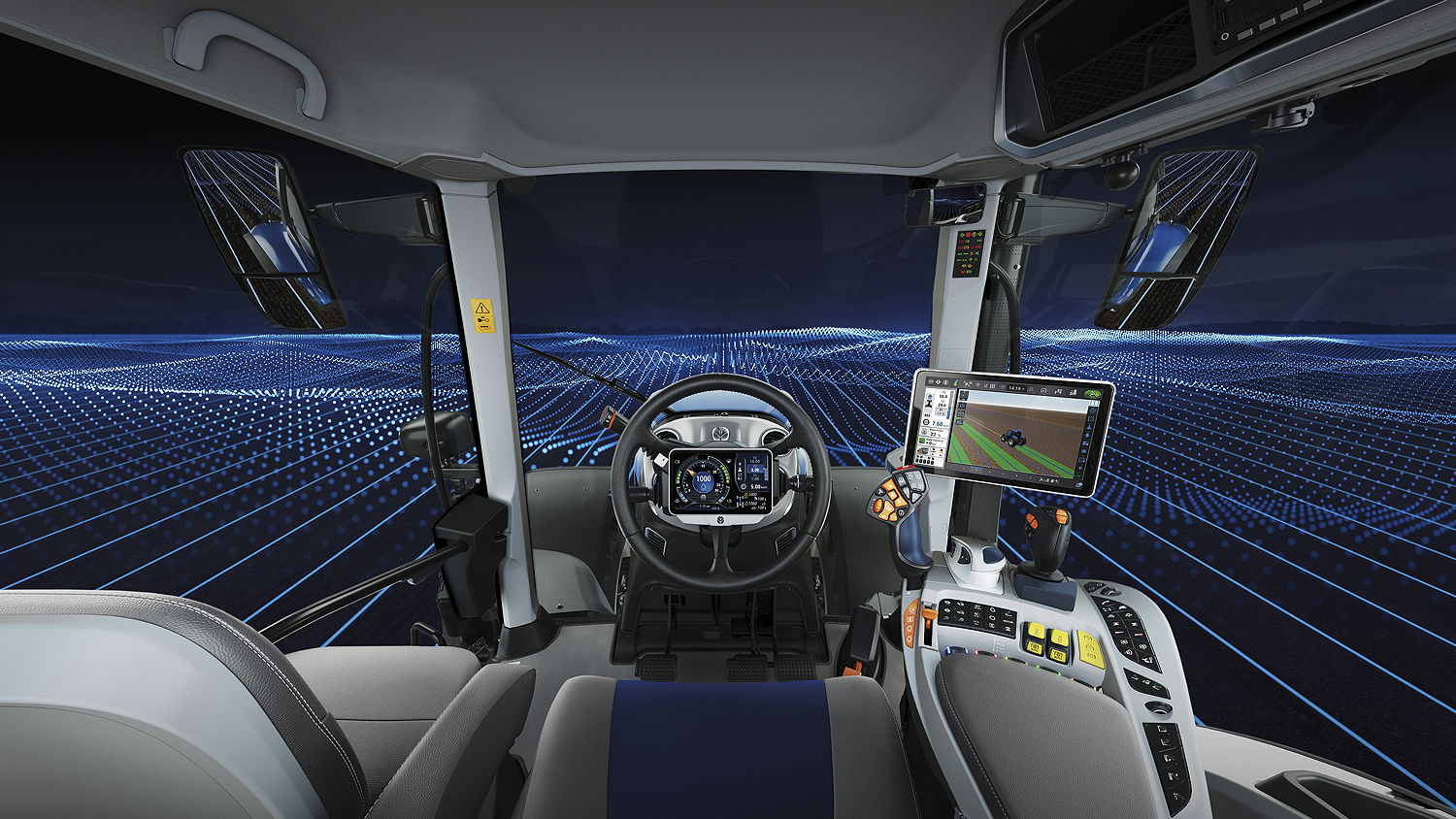 The Horizon Ultra cab on the new T7HD tractors features the new CentreView display placed in the centre of the steering wheel – an industry first – that helps provide the operator with a clear line of sight