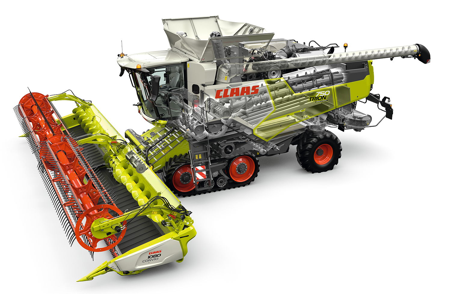 A cutaway of the new Claas Trion 750 Terra Trac. The range marks the complete renewal of the brand's combine offering