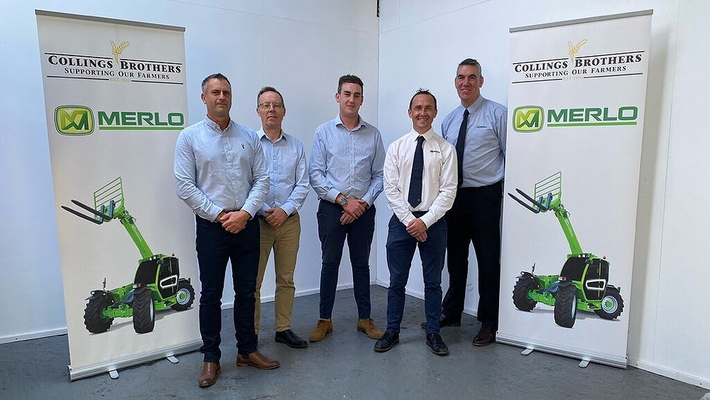 Pictured (from left) are: Jason Weston, Vincent Lynch and Ben Wood of Collings Brothers, and Charlie Lane and Jim Chapman of Merlo UK