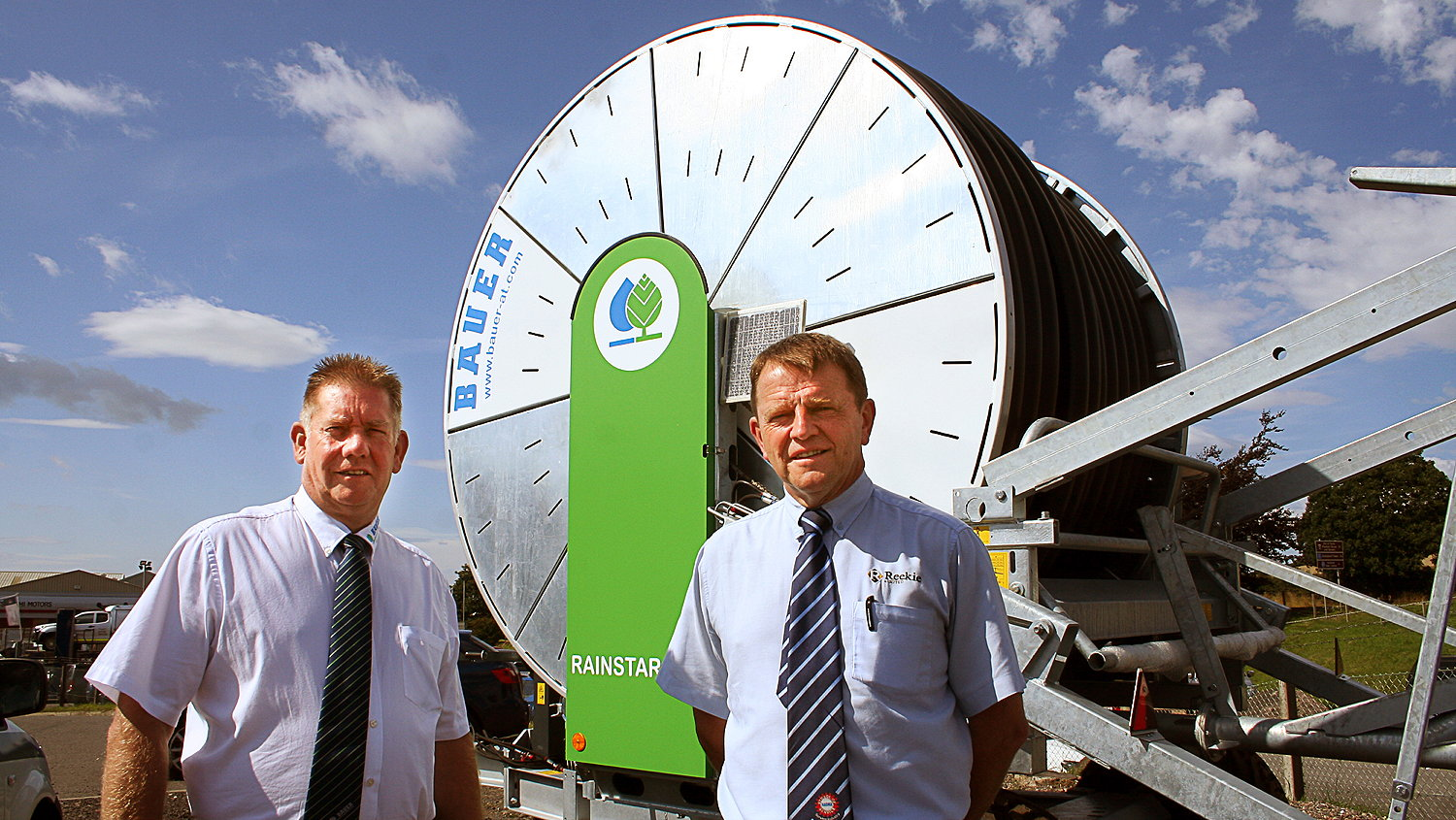 Rob Jackson (left) of Bauer UK and Ireland is pictured with Reekie's general manager at Cupar and Perth, Sam Mercer
